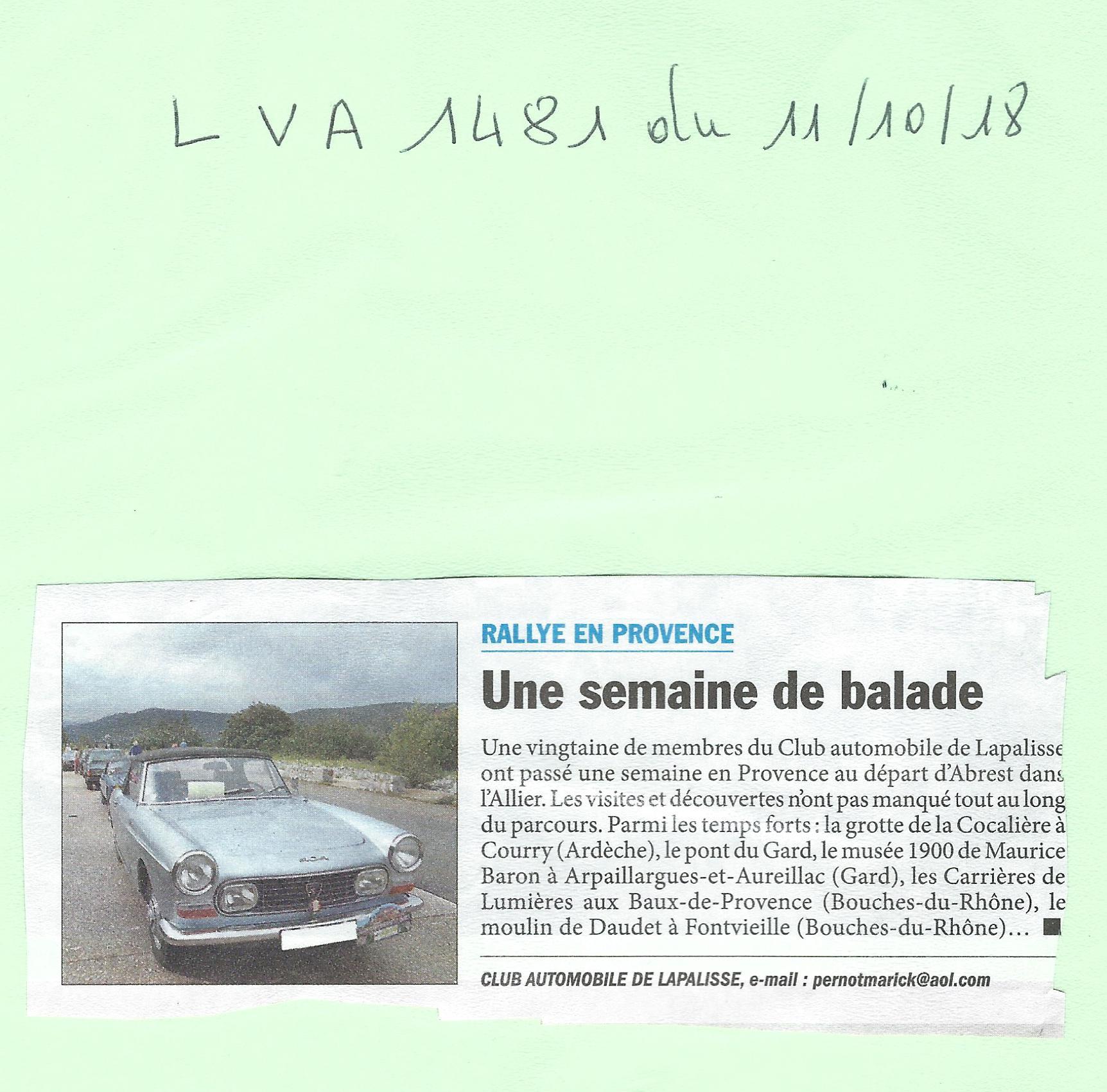 Balade en Provence - article dans LVA