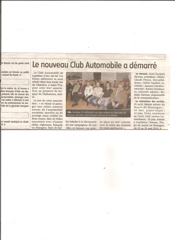 Le nouveau Club Automobile de Lapalisse a démarré le 03 avril 2015