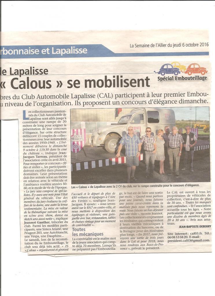 Les Calous se mobilisent pour l'embouteillage octobre 2016